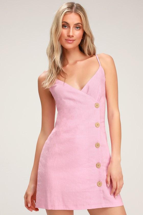 3f50670841de Lulus x LUSH Mini Dress - Pink Mini Dress - Button Front Dress