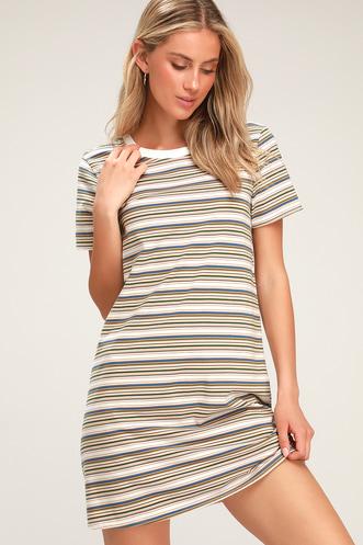 e7abdc54457d Binx Tan Striped Short Sleeve Shirt Dress