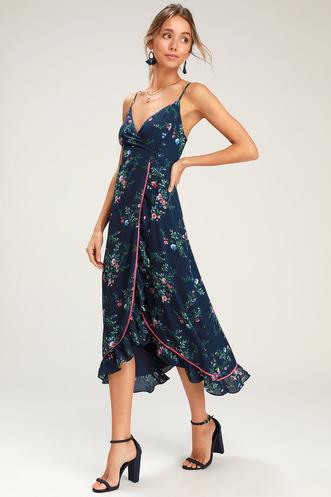 ccc790ad783 Darling Date Navy Blue Floral Print Ruffled Wrap Midi Dress