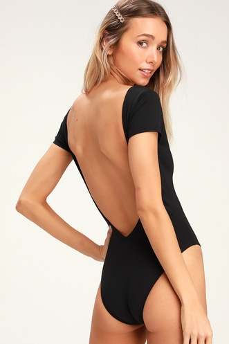 9d2750b4ae Sol Searcher Black Backless One Piece Swimsuit