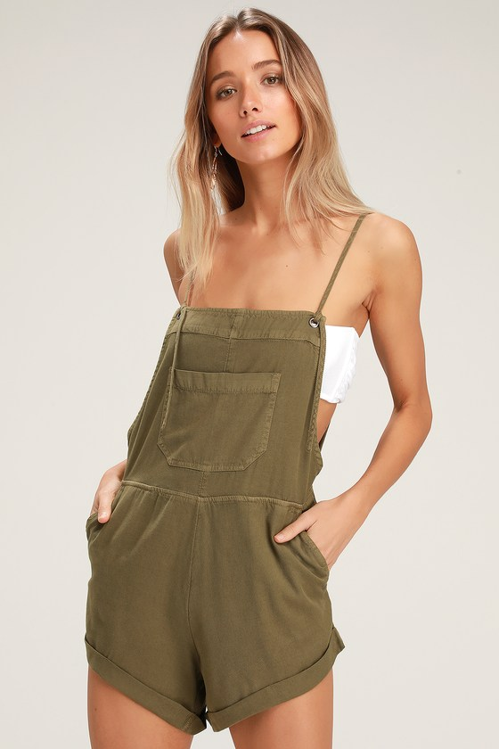 Billabong Wild Pursuit - Olive Green Overalls - Short Overalls