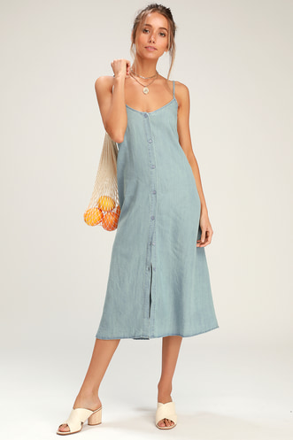 55a0586a1a2 Easygoing Light Wash Chambray Tie-Back Midi Dress