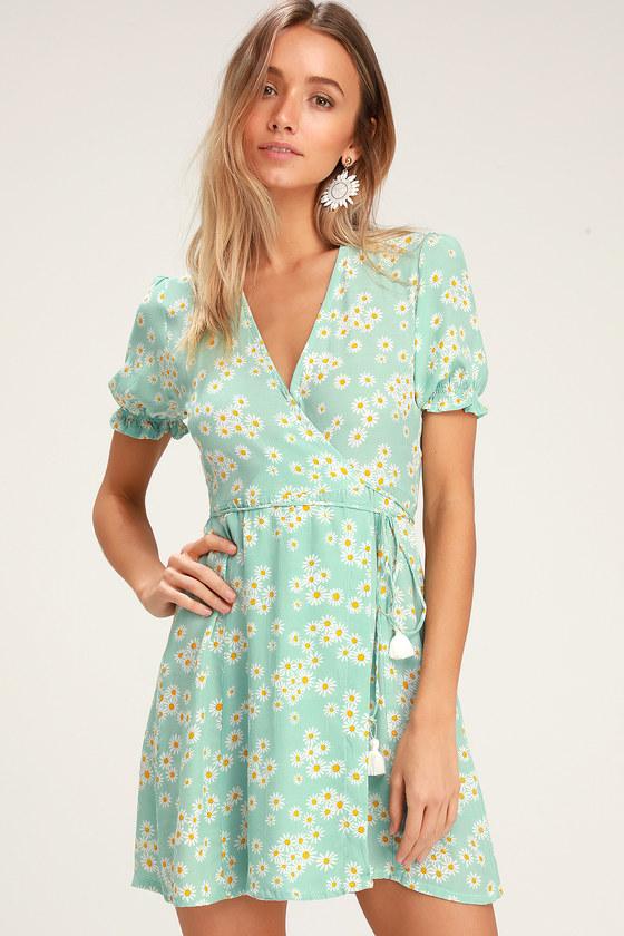 62c1bd1ebfcdf Faithfull the Brand Mira - Mint Blue Floral Dress - Wrap Dress