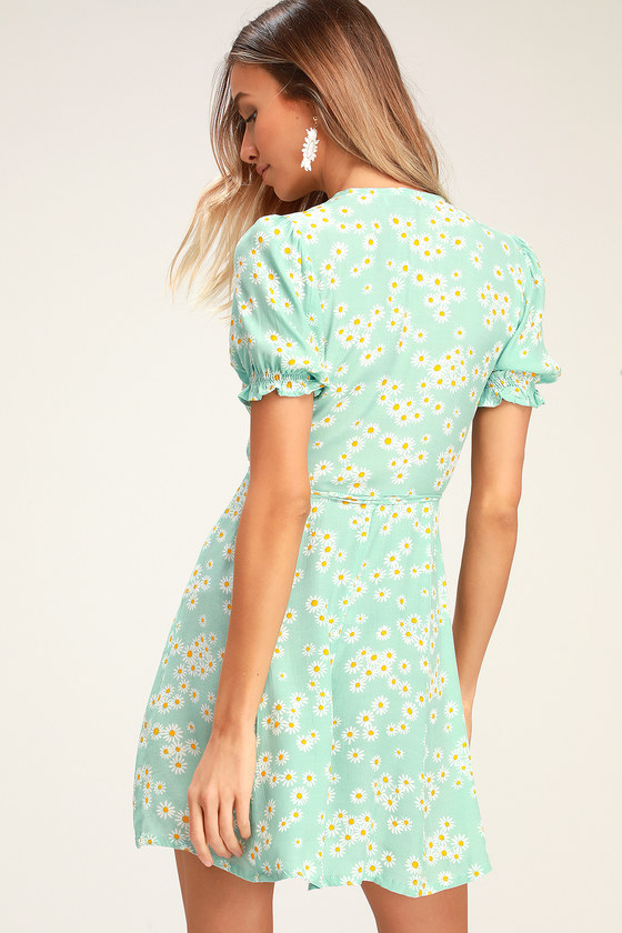 df63002c268c61 Faithfull the Brand Mira - Mint Blue Floral Dress - Wrap Dress