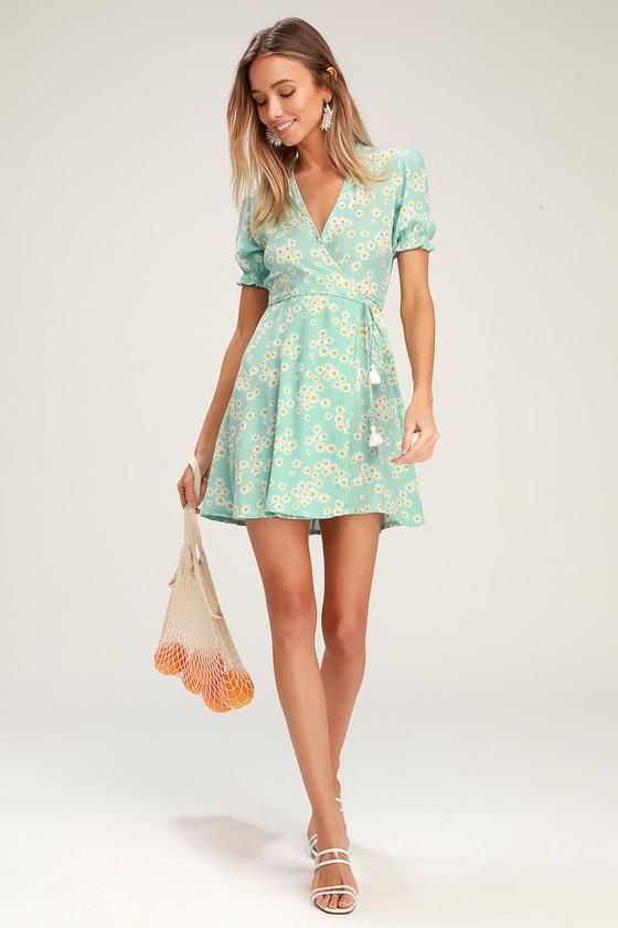 2285fad9c6e7 Faithfull the Brand Mira - Mint Blue Floral Dress - Wrap Dress