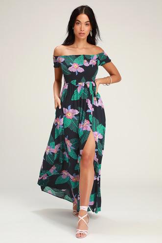 6d596d4cf975 Patsy Navy Blue Floral Print Off-the-Shoulder Dress