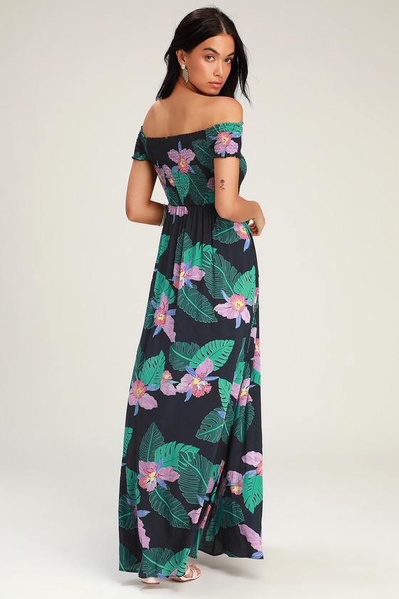 9a3d91047e36 Cute Navy Blue Floral Print Dress - OTS Dress - Maxi Dress