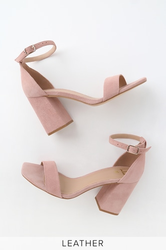 c973428597d Taylor Leather Blush Suede Ankle Strap Heels