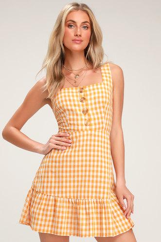 e2ca75e92966 LUSH Dollface Mustard Yellow Gingham Print Ruffled Mini Dress