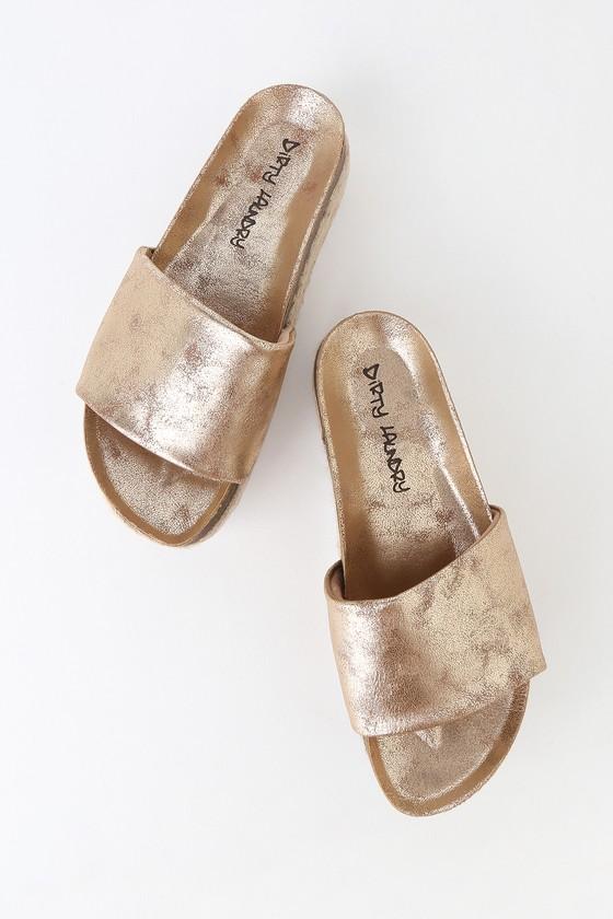 51870310606e Dirty Laundry Pippa - Shimmer Gold Slides - Flatform Espadrilles