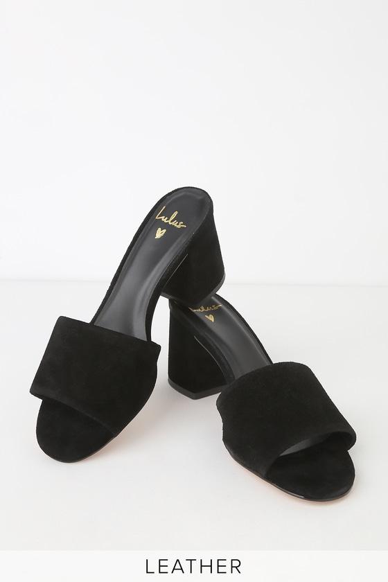 2d56267bd35 Heather Black Suede Leather Peep-Toe Mules