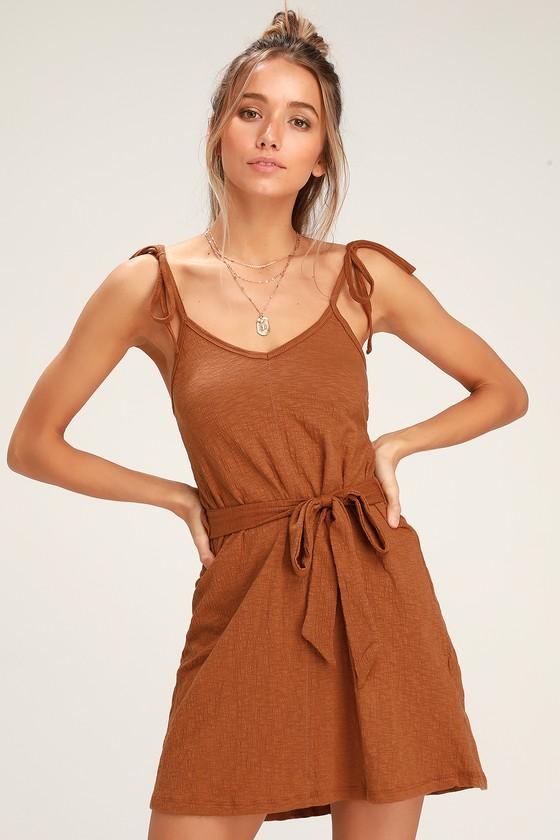 Going Steady Light Brown Sleeveless Mini Dress - Lulus