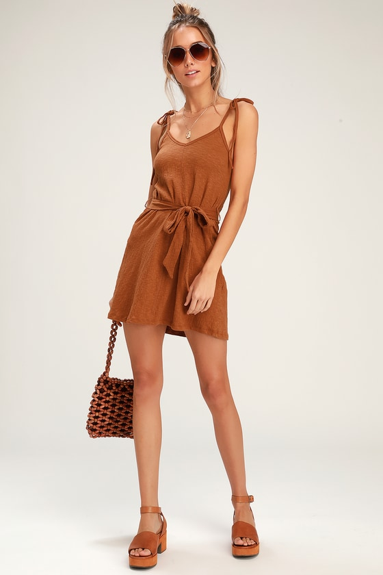 9e4f6d12881 Billabong Going Steady - Light Brown Dress - Mini Dress