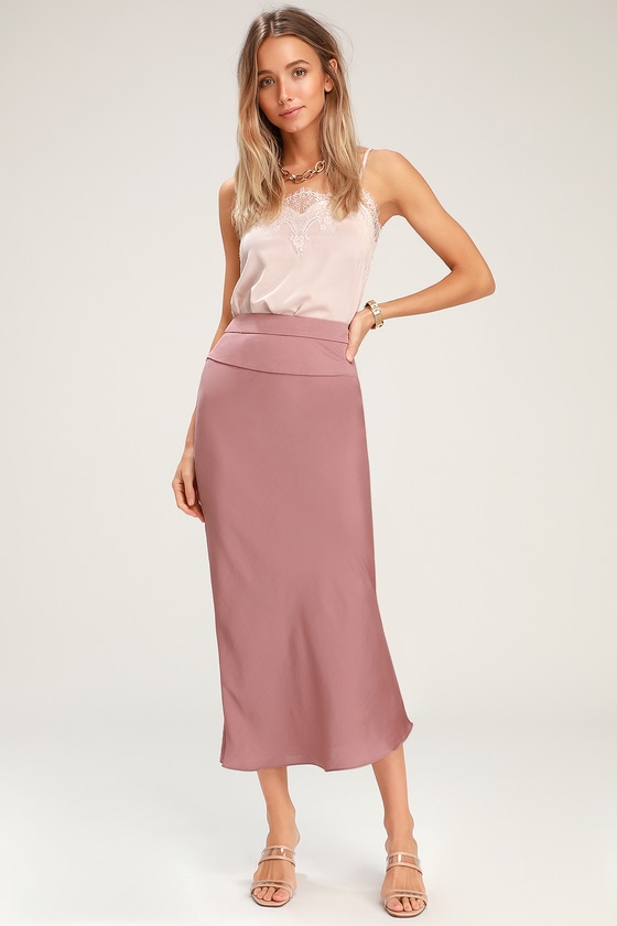 1d1ca536444ae Free People Normani Bias - Dusty Mauve Skirt - Satin Midi Skirt