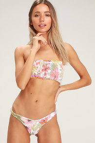 9665bd1a19 Tropic Luv White Tropical Print Hike Bikini Bottoms