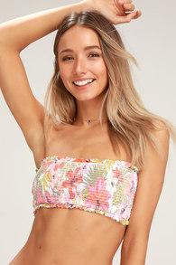 9631d999b5 Tropic Luv White Tropical Print Smocked Tube Bikini Top