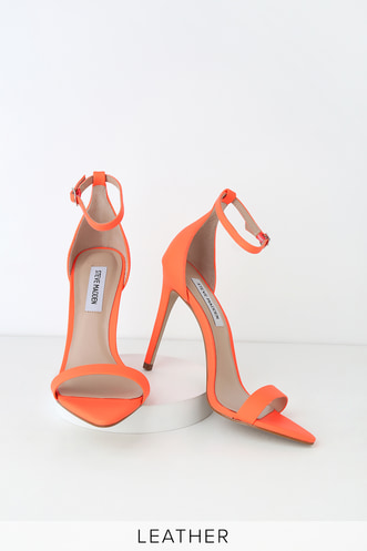 84bcb642915 Steve Madden Sane Coral Nubuck Leather Ankle Strap Heels
