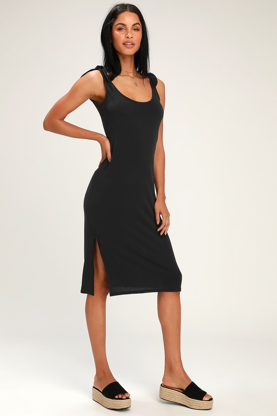 10a8ccafb0b Casual Midi Dress - Washed Black Midi Dress - Tie-Strap Dress
