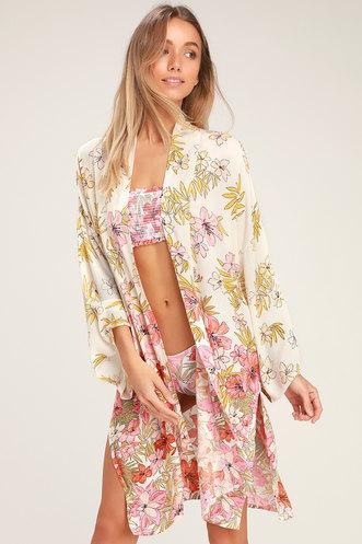 e4f40072428 Fire Nights Cream Floral Print Kimono Top
