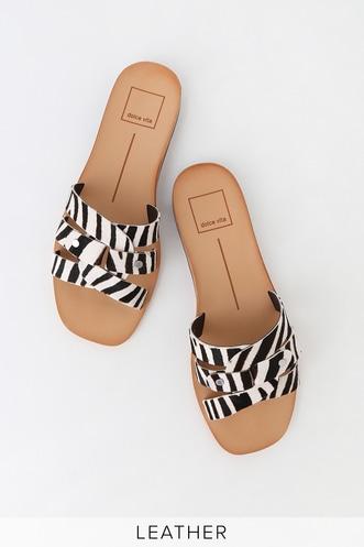 846dbc1567dde8 Cait Zebra Calf Hair Flat Sandals