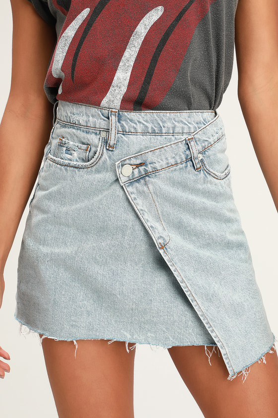 3b5b4f82995 Blank NYC Acid Wash Skirt - Asymmetrical Denim Skirt - Mini Skirt