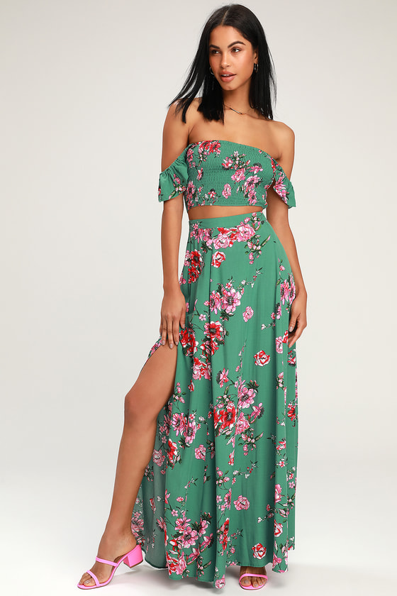 Away On Vacay Green Floral Print Two Piece Maxi Dress by Lulus
