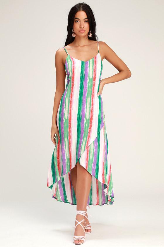 ec3ff387f85d Green Multi Stripe Dress - Striped Dress - High-Low Dress
