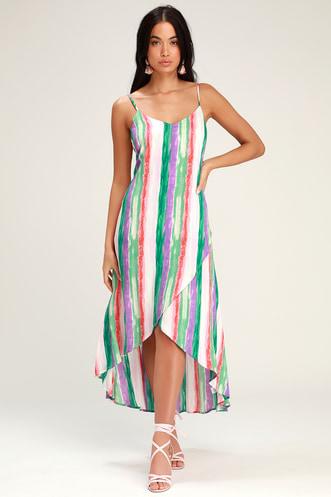 3c641c62f2 Brushstroke of Luck Green Multi Stripe High-Low Dress