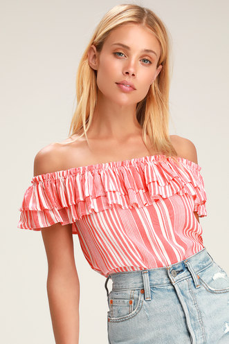 fcb61cc81e6 Rylee Red and White Striped Off-the-Shoulder Crop Top