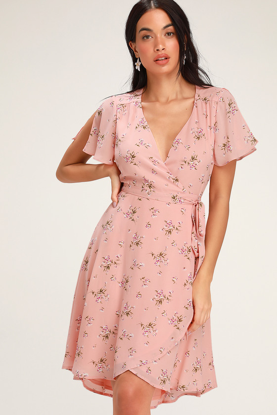 RISE TO THE OCCASION BLUSH PINK FLORAL PRINT MIDI WRAP DRESS
