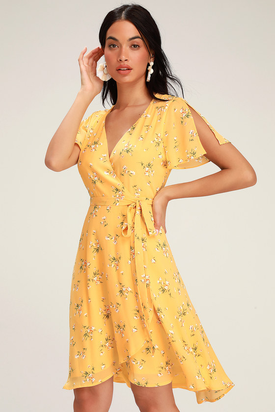 RISE TO THE OCCASION YELLOW FLORAL PRINT MIDI WRAP DRESS
