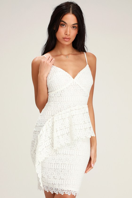 319781addeb Lovely White Dress - Crocheted Lace Dress - Ruffled Dress