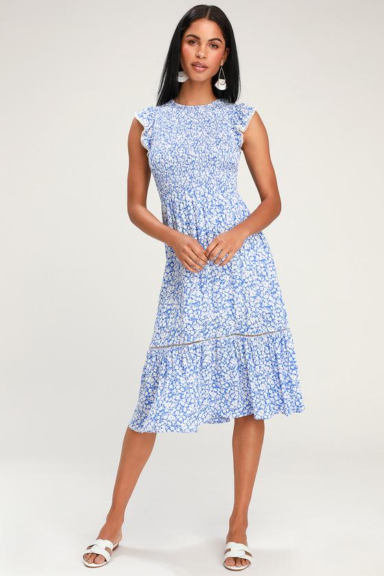 dcd92a9aa0 Lost + Wander Pick Me - Blue Floral Midi Dress - Smocked Dress