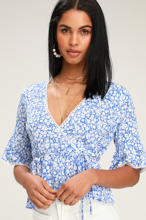 Pick Me Blue and White Floral Print Wrap Top