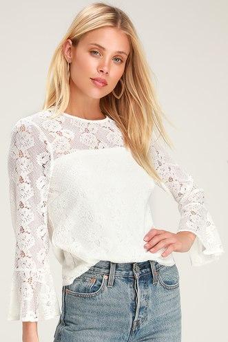 2a2c99a3c25fd Perfect Petals Cream Lace Three-Quarter Sleeve Top