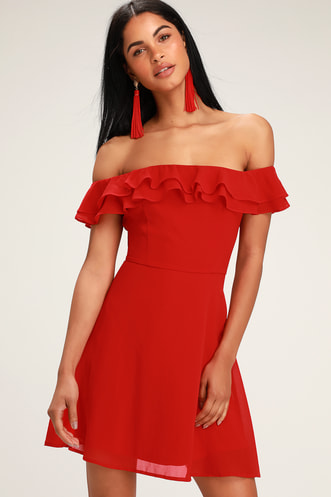 cc09122f1cd Win Your Heart Red Ruffle Off-the-Shoulder Skater Dress