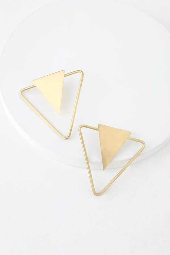 Apex Gold Triangle Earrings - Lulus