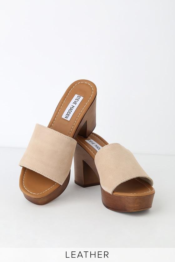 Fran Suede Leather Platform Sandals Sand ZOkPiXu