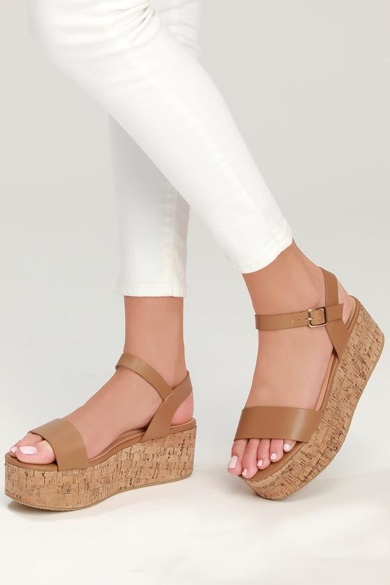 75f23e36cf2 Cute Sand Cork Wedges - Cork Wedge Sandals - Sand Wedges