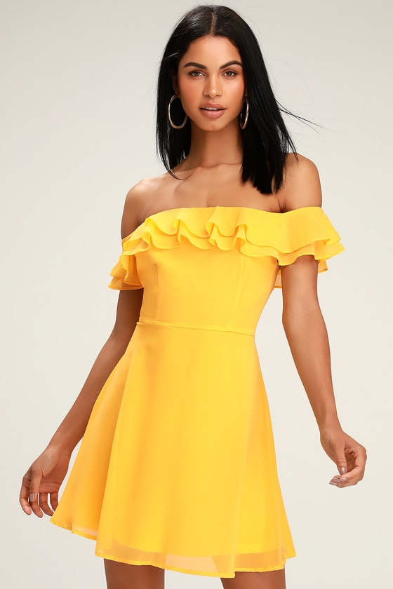 Fun Yellow Dress - Yellow Skater Dress -
