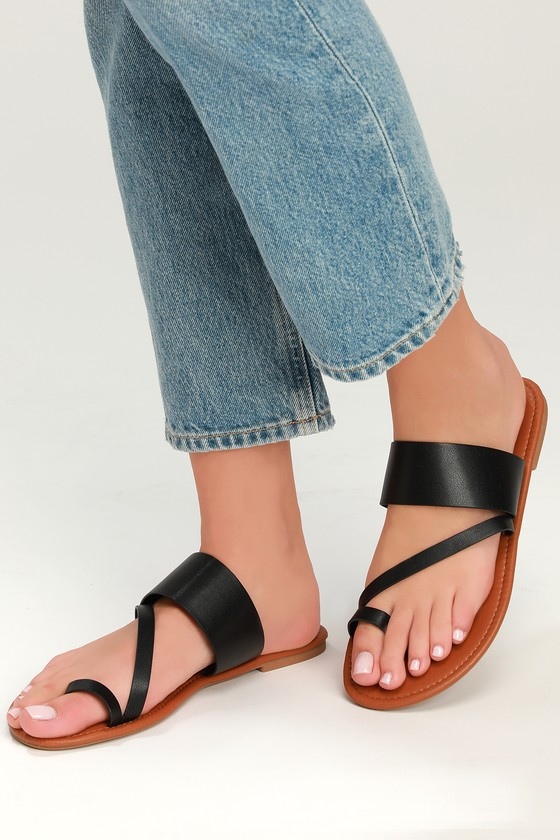 6ac1076ad Cute Black Flat Sandals - Vegan Leather Sandals