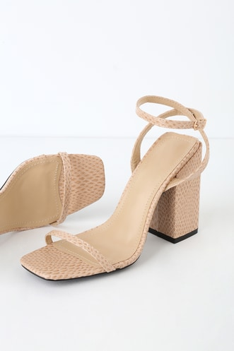 88c03a5fe88ae Leighla Nude Snake Square Toe Ankle Strap Heels