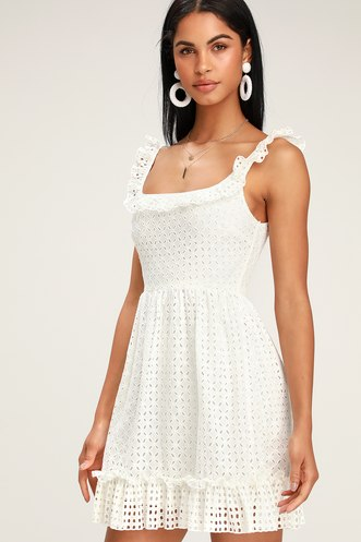 a241a5831fe Make a Wish White Eyelet Ruffled Mini Dress