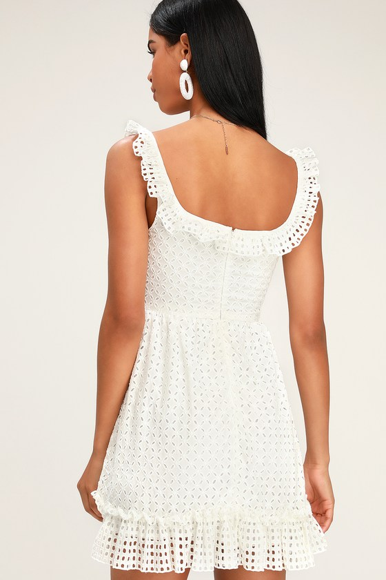 eb8690e44c8f3 Cute White Lace Dress - Eyelet Lace Dress - White Mini Dress
