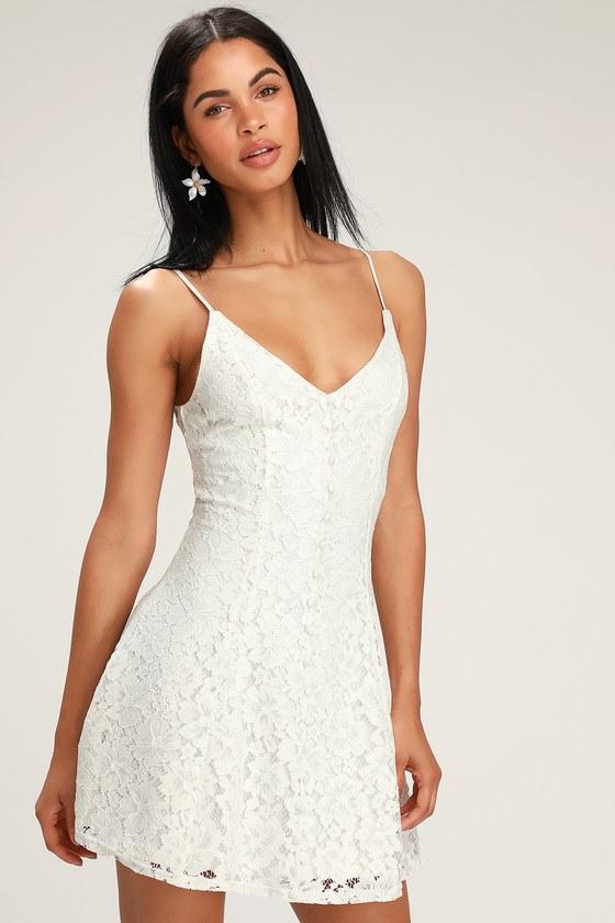 Easy Love White Lace Skater Dress