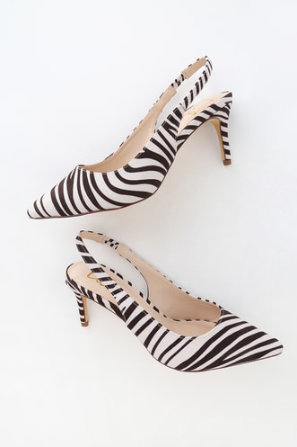 6b71ad8a4ca Christa Black and White Zebra Suede Pointed-Toe Slingback Pumps