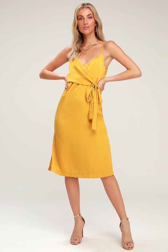e5eac23f178 J.O.A. Satin Dress - Wrap Dress - Midi Dress - Yellow Dress