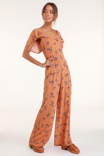 80caaec7fdb Sunlit Veranda Terra Cotta Floral Print Wide-Leg Jumpsuit