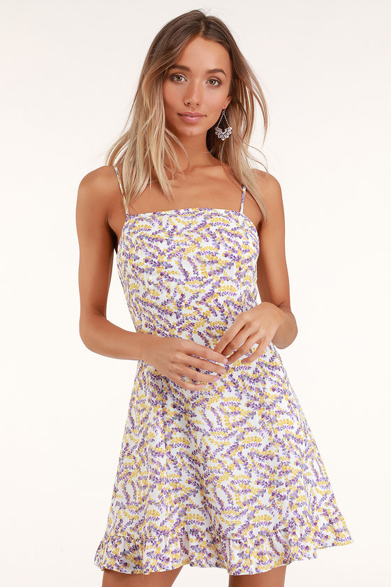 BRYNNE WHITE AND YELLOW FLORAL PRINT MINI DRESS