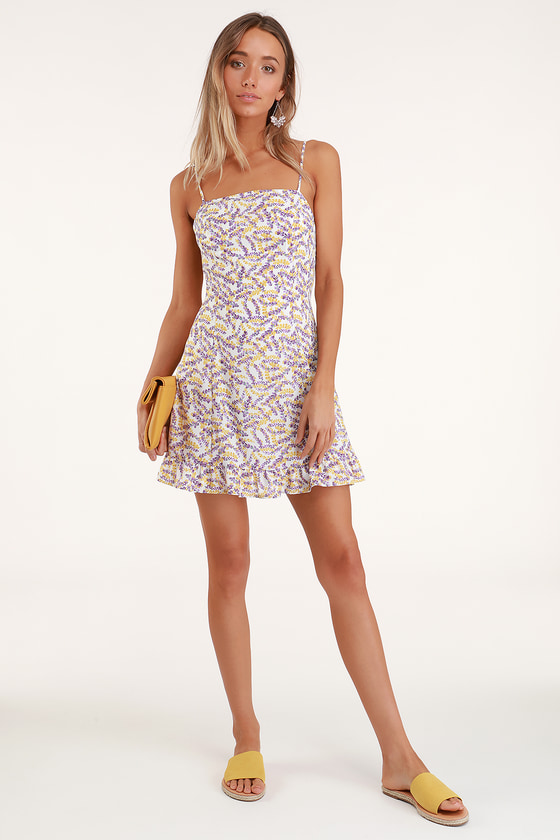 727397c15b White Floral Mini Dress - Floral Mini Dress - Square Neck Dress